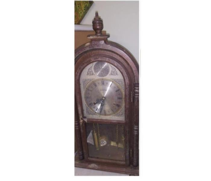 Clock with smoke damage